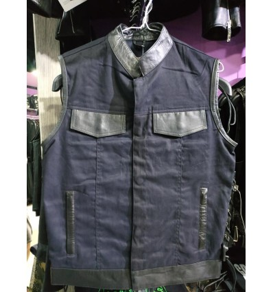 Cotton and leather vest