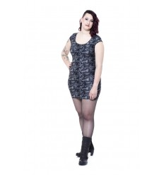 GREY DRESS WITH SKULLS AND ROSES PATTERN