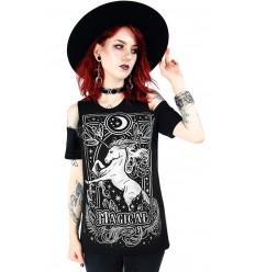 Cold shoulder T-shirt MAGICAL UNICORN GRAY