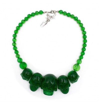 Skull Collection Necklace Green Glitter