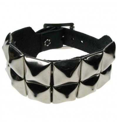 2 Row Pyramid Stud Black Leather Wristband