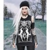 Black gothic T-shirt goddess HECATE COLD SHOULDER